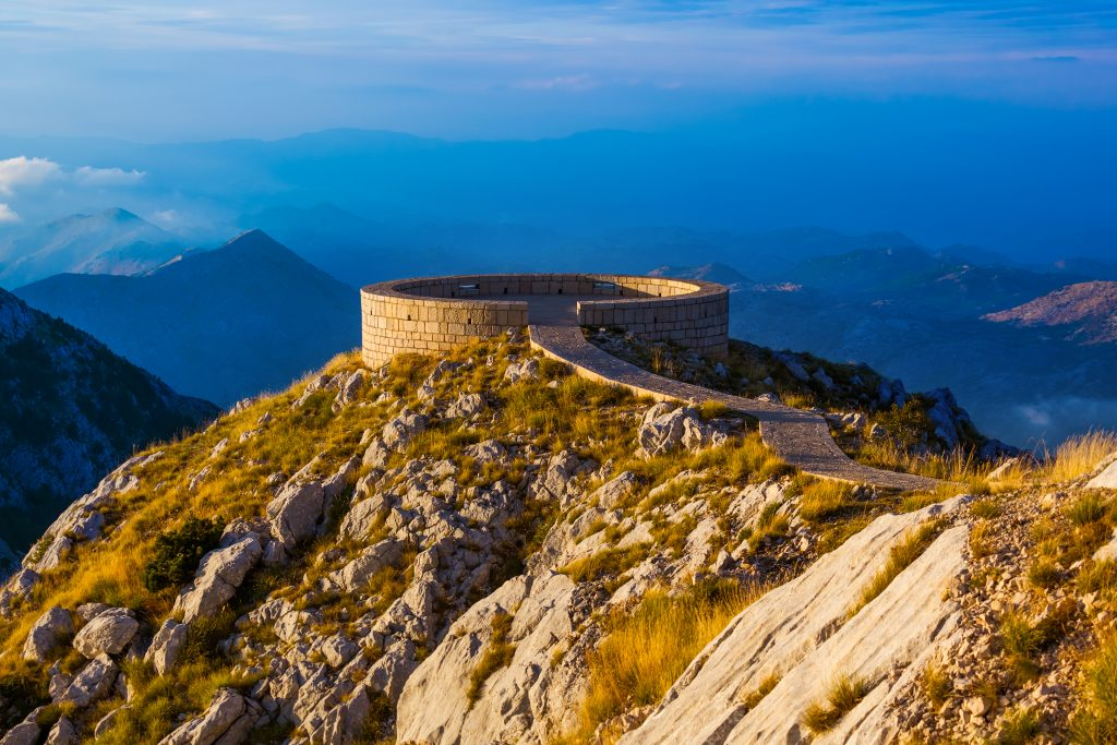 Lovcen Mountains National park at sunset in Montenegro